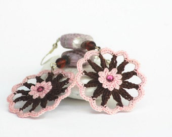 Pink and brown sweet crochet earrings