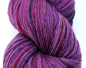 "Kettle Dyed Sock Yarn, Superwash Merino and Nylon 75/25 Fingering Weight, in ""Purple Rain"""