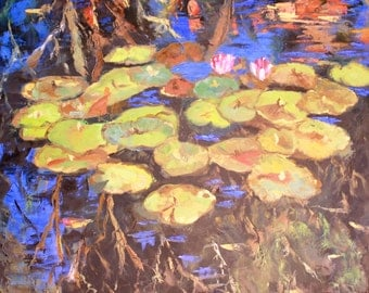 Duke Gardens Lilly Pond Original Oil Painting / 36 x 36 / Durham, North Carolina