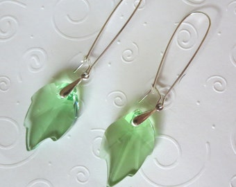 Green Crystal Leaf Earrings with Sterling Silver Bails and Earwires