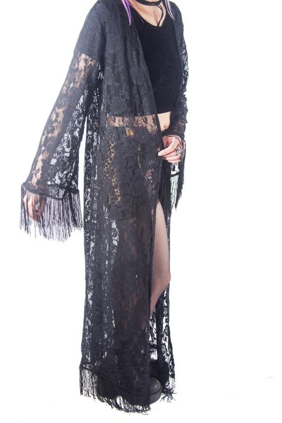 Black Lace Kimono Duster Fringe Lace Kimono Floor By Ragabond