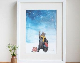 Ursa Major + Ursa Minor Print