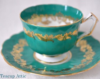 Aynsley Embossed Teacup and Saucer Set, English Bone China Tea Cup and Saucer, Replacement China, ca. 1960