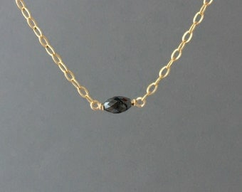 Tiny Black Diamond Stone Necklace Gold Rose Gold or Silver