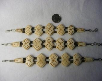 CLOSEOUT  Bone Tribal Bracelets  5pc Lot