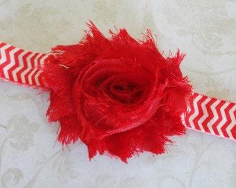 Red Shabby Flower Headband, Baby Headband, Red Chevron Headband, Girls Headband, Toddler Headband, Holiday Headband,Chiffon Flower