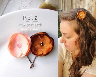 PICK 2 Small Silk Flower hair Clip, Fall Wedding Hair Flowers, Peach, Burnt Orange Bridesmaid Hair Accessory, Satin, Fall bridal Hair Piece