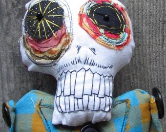 Starry eyed plaid skeleton handmade ooak art doll