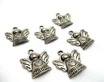 6pcs Oxidized Silver Tone Angels w Hearts Charms - 21x19mm - Base Metal Charm - Jewelry Making Supplies