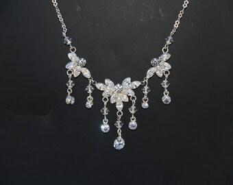 BRIDAL Necklace, Wedding jewelry,  Wedding Crystals necklace, QUINCEANERA Jewelry dangling crystals necklace
