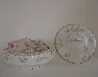 Antique Henry Alcock + Company, Large English Ironstone Soup Tureen, Floral Motif, Shabby Chic Decor, Circa 1892
