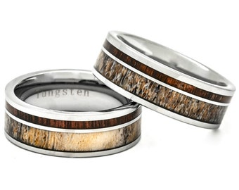 Whitetail Deer Antler and Hawaiian Koa Wood Inlay Ring Tungsten Carbide 8mm Size 7 to 15