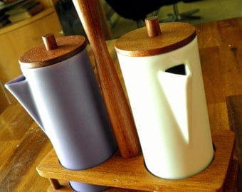 1960s Anri Form (Italy) Porcelain/Teak Cruet Set--Ivory & Lavender--Beautiful Condition
