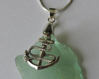 Pretty Coke Bottle Green Seaglass Silver Anchor Pendant