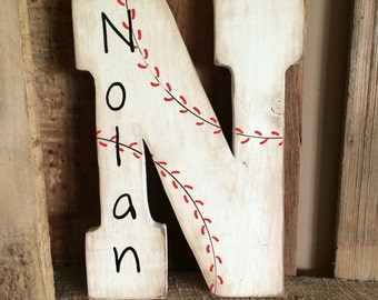 Large Baseball Letter With Name, Baseball Letter, Monogram, Baseball Monogram, Custom Name