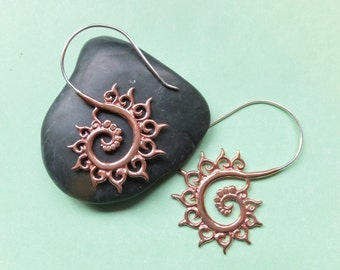 FIBONACCI FRACTAL COPPER sacred geometry spiral earrings, Free shipping