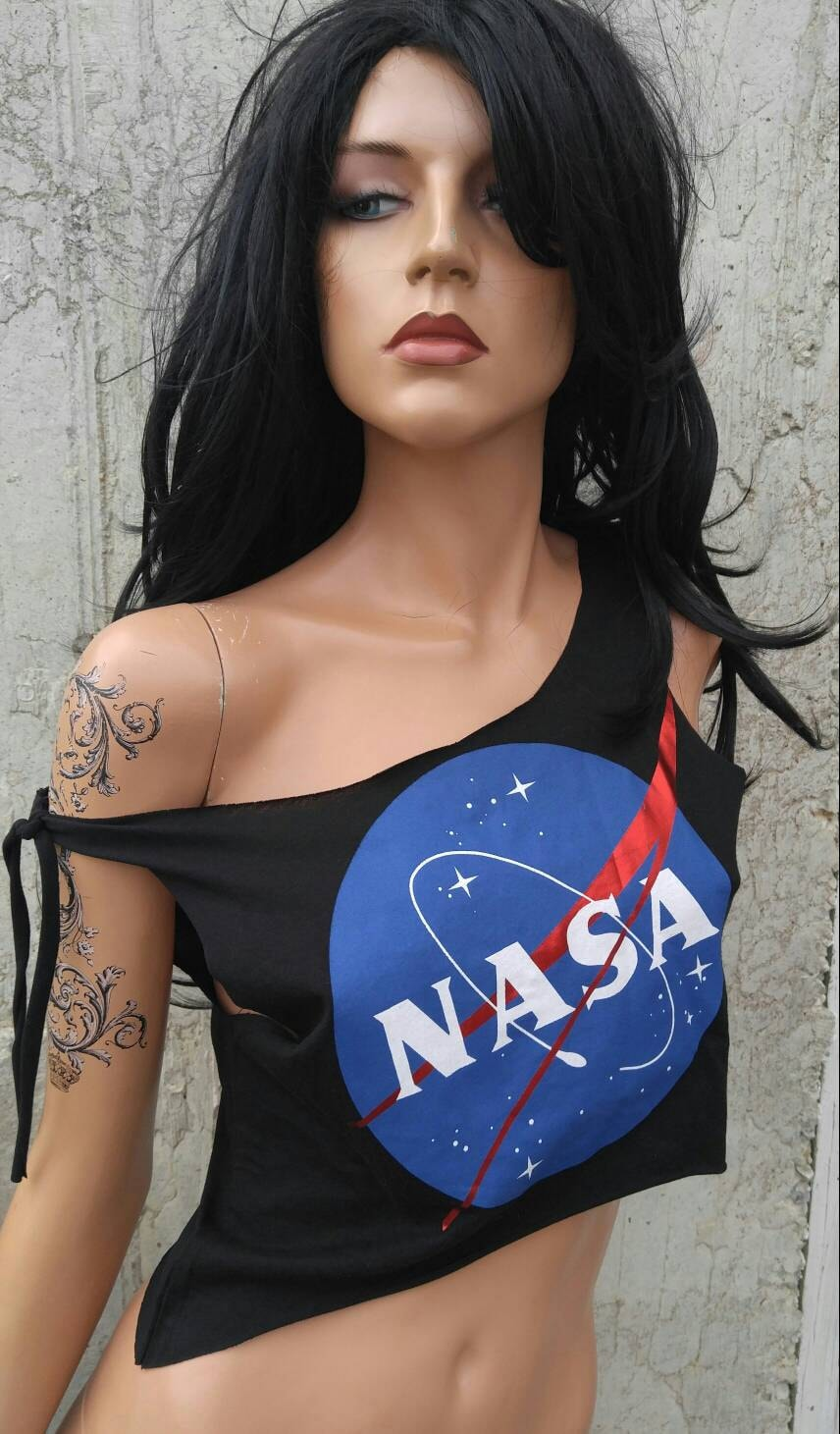 NASA Crop Top Tank Top Shredded Shirt by TShreds on Etsy