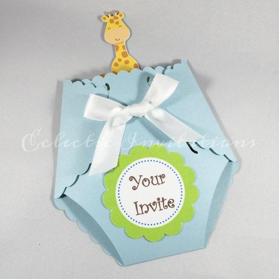 animal theme baby shower invitation baby blue by veronicasstuff