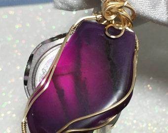 Deep Purples SUGILITE Semi Gel Pendant w/ 14K Gold gf w/ necklace gf5-8
