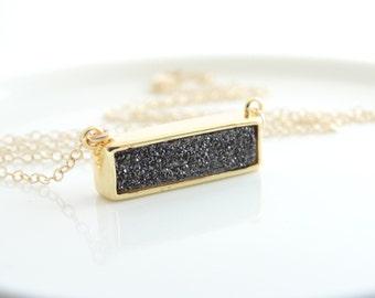 Black Druzy bar necklace - Black Druzy Necklace , Druzy Quartz Necklace, Druzy Quartz Jewelry  Titanium Druzy Necklace