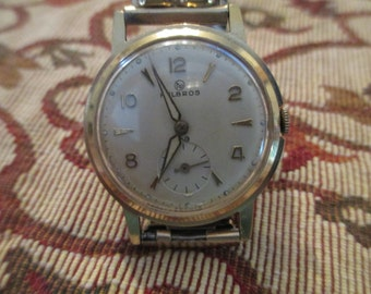 SUPER SALE! RARE Helbros 10kt gold mens watch with subdial Great gift!