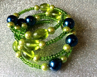 Lime Green Glass Cuff Bracelet Blue Pearl Expandable Memory Wire by JulieDeeleyJewellery Ladies Jewelry
