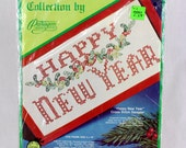 Vintage Happy New Year Cross Stitch Kit Holiday Paragon Needlecraft Red and Green