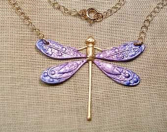 Hand Painted Purple and Blue Dragonfly Necklace. Goldtone Chain 24 inches