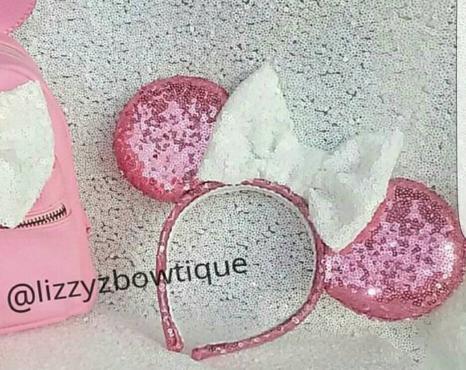 Pink Sequin Minnie ears with any color sequin bow