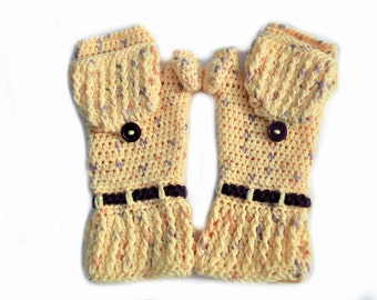 Convertible mittens, gloves, arm warmers, crochet yellow mittens, gloves