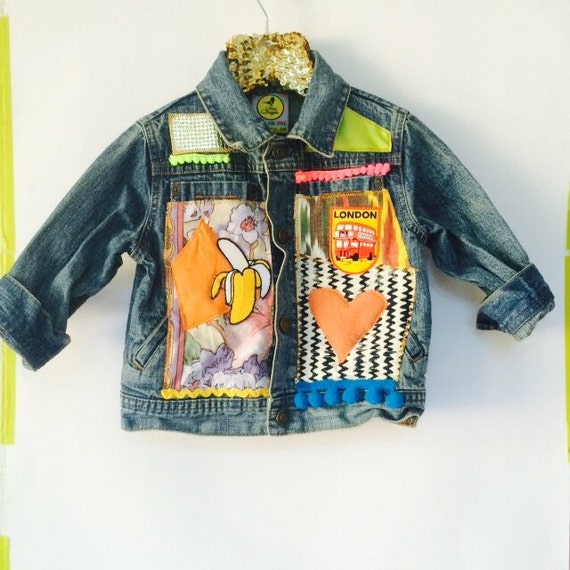 JUMP 3-4 Years Denim Jacket Upcycled with African fabric Pom Pom Trim MH