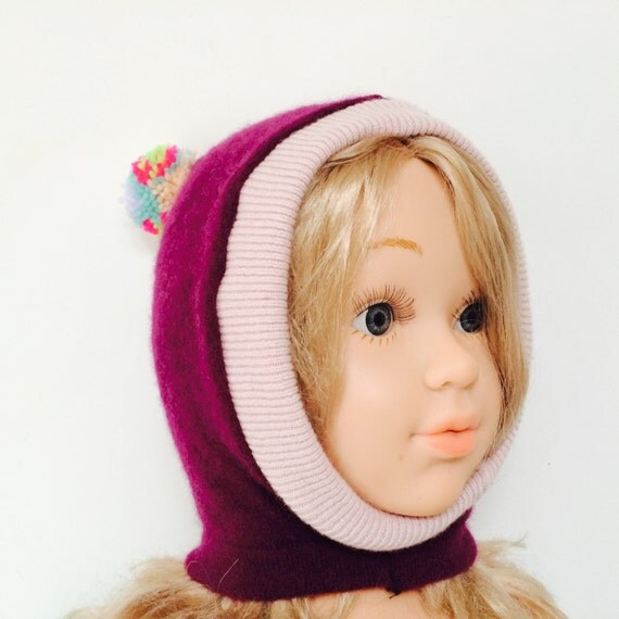 DIZZY 0-3m Cashmere Toddler Hat Kids Childrens Balaclava Bobble Hat Snood Hoodie Upcycled Pom Pom Unisex