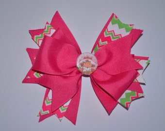 Strawberry Shortcake Hair Bow, Ready to Ship As pictured