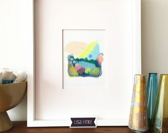 Lush spring abstract landscape art print (tiny size)