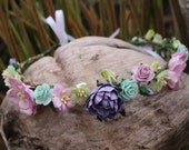 Lavender and mint flower crown headband