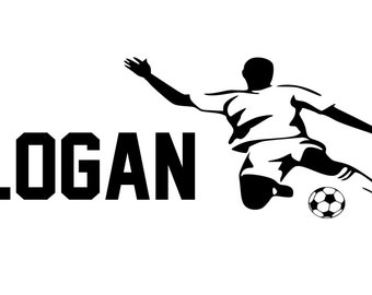 Personalized Soccer Football custom Name  vinyl decal wall art decor removable bedroom decal