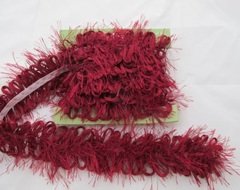 Dark Red Eyelash & Ribbon Trim - 1 1/2 yards
