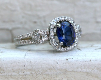 Vintage Halo 14K White Gold Diamond and Sapphire Engagement Ring - 3.85ct.