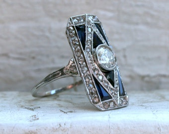 RESERVED - Vintage Art Deco Platinum Diamond and Sapphire Wedding Ring Engagement Ring - 2.30ct.