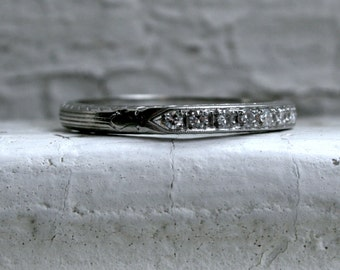 Vintage Pave Diamond 18K White Gold Engraved Wedding Band.