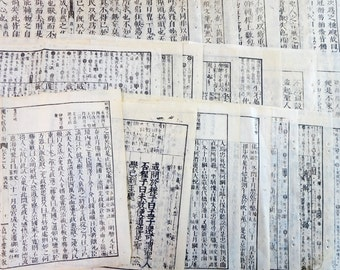 1880s Antique Japanese Book 19 Pages Paper Ephemera Scrap Assorted Pack