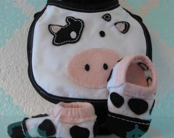 Pink Felt Cow Bib and Shoe Set-Light Pink, Black and White Cow Baby Bib & Shoes Set