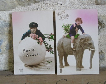 French Bonne Annee cards with cute kids, New Year wishes from 1920s