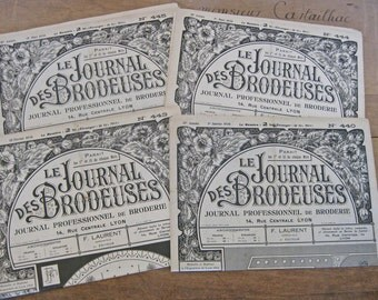 Embroidery pattern magazines 4 French Le journal des Brodeuses from 1936