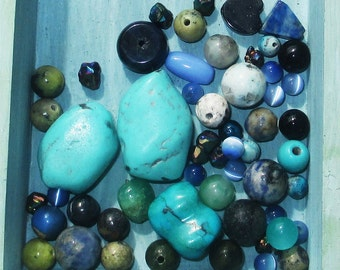 Blue Gemstone Bead Lot-  53 pcs - Jewelry Making Supplies
