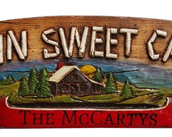 Cabin Sweet Cabin Personalized Rustic Door Topper