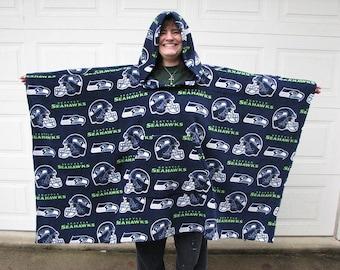 Seahawks Poncho, NFL Team Poncho, Football Poncho, Mens poncho, Poncho, Hooded poncho, fleece poncho, Sports Poncho,  Choose your team