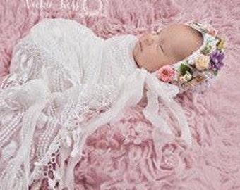 Newborn Bonnet, Baby Bonnet, White, Pink, Lavender, Yellow, Pearls, Chiffon Ribbon, Silk Flowers, Girl, Newborn Photo Prop, Ready to Ship
