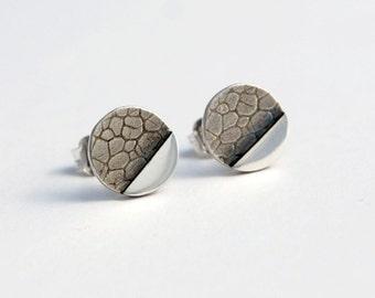 Geometric botanical circle studs sterling silver dots studs
