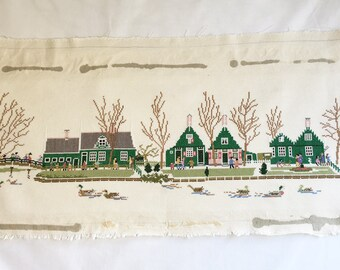 Finished / Completed Cross Stitch -  Dutch Country Scene  crossstitch counted cross stitch